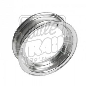 Paire de cercles de roue en aluminium brossé en 3.00x10 adaptable sr Honda Dax ST50, ST70 et Chaly